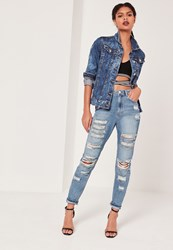 Missguided High Rise Chain Ripped Jeans Mid Blue Blue