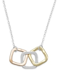 Studio Silver Tri Tone Square Pendant Necklace In 18K Gold Over Sterling Silver And Sterling Silver
