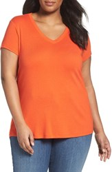 Sejour Plus Size Women's Short Sleeve V Neck Tee Orange Spice