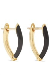 Melissa Kaye Cristina 18 Karat Gold And Enamel Earrings One Size