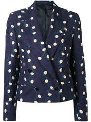 Paul Smith Double Breasted Jacket Women Cotton Cupro 40 Blue