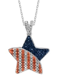 Macy's Multicolored Diamond Star Pendant Necklace 1 3 Ct. T.W. In Sterling Silver
