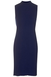 Topshop Clean Ribbed Longline Tunic Navy Blue