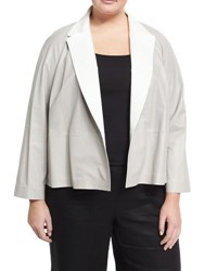 Lafayette 148 New York Callan Leather Silk Lined Jacket Silver