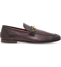 Gucci Elanor Bit Detail Leather Loafers Dark Brown