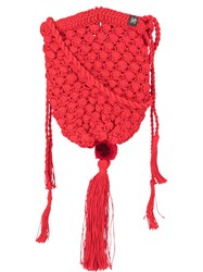 Nannacay Marina Knitted Shoulder Bag Red