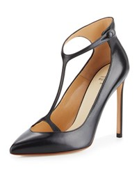 Francesco Russo Leather T Strap 105Mm Pump Black
