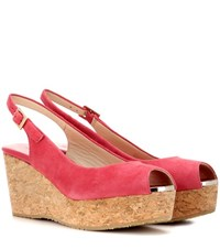 Jimmy Choo Praise Suede Wedge Sandals Pink