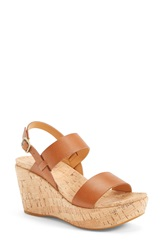 Kork Ease 'Austin' Leather Slingback Wedge Platform Sandal Women Brown