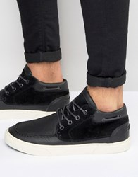 Pointer Taylor Mid Plimsolls In Leather Black