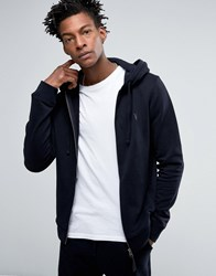 Allsaints All Saints Zip Hoodie With Chest Branding Ink Navy