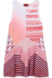 Missoni Paneled Pointelle And Crochet Knit Tunic Pink