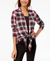 Almost Famous Juniors' Plaid Layered Look Top Burgundy