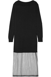 Maison Martin Margiela Stretch Knit And Tulle Midi Dress Black