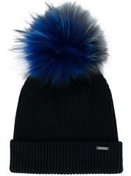 Woolrich Pompom Embellished Ribbed Beanie Blue