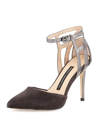 French Connection Electra Suede Ankle Wrap Pump Aluminum Pewter