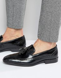 Asos Brogue Loafers In Black Leather With Tassel Black
