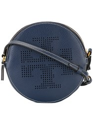 Tory Burch Perforated Logo Shoulder Bag Blue