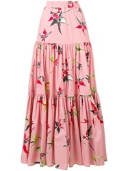 La Doublej Long Printed Skirt Pink