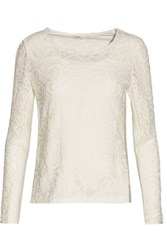 Maje Luna Lace And Ribbed Knit Top Ivory