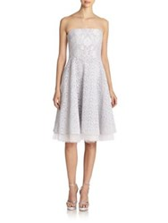 Badgley Mischka Mixed Lace A Line Strapless Dress Silver