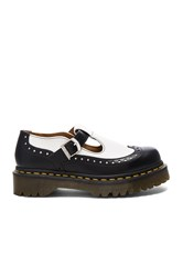 Dr. Martens Demize Brogue T Bar Loafer Black And White