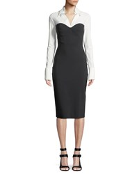 La Petite Robe Di Chiara Boni Austina Bicolor Shirt Dress W Collar White Black