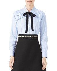 Gucci Long Sleeve Oxford Stripe Blouse With Grosgrain Tie Blue