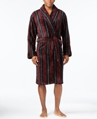 Club Room Men's Burgundy Striped Robe Only At Macy's