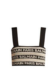 Balmain Logo Intarsia Stretch Knit Crop Top Beige Multi
