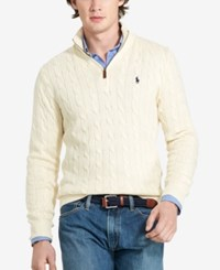 Polo Ralph Lauren Men's Cable Knit Mock Neck Sweater Natural Cream
