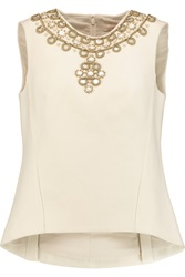 Tory Burch Faux Pearl And Shell Embellished Wool Felt Top