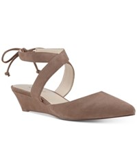 Nine West Elira Pointed Toe Two Piece Wedges Women's Shoes Natural Suede