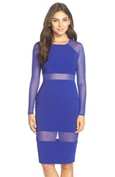 Women's Jay Godfrey 'Aldyn' Sheer Panel Crepe Sheath Dress Electric Blue