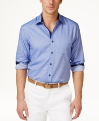 Tasso Elba Men's Core Heather Diamond Long Sleeve Shirt Only At Macy's Amparo Blue