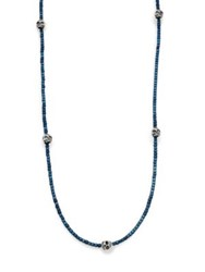 King Baby Studio Hematite And Skull Necklace Blue