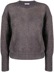 Brunello Cucinelli Ribbed Sweater With Glitter Detail Grey