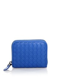 Bottega Veneta Woven Leather Coin Case Grey Bluette