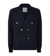 Hardy Amies Double Breasted Wool Cardigan Male Navy