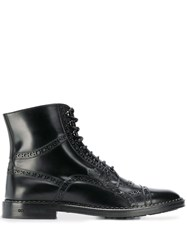 Dolce And Gabbana Lace Up Ankle Boots Black