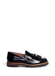 Stuart Weitzman 'Manila' Tassel Leather Penny Loafers Black