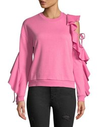 Romeo And Juliet Couture Ruffle Sleeve Cold Shoulder Sweatshirt Hot Pink