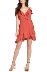 Willow And Clay Cold Shoulder Wrap Dress Coral