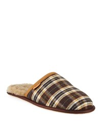 Ugg Scuff Plaid Leather Slippers Brown