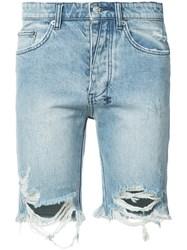 Ksubi Distressed Denim Shorts Men Cotton 34 Blue