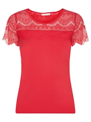 Planet Lace Panel Jersey Top Red