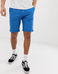 Solid Regular Fit Chino Shorts In Blue