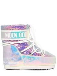 Moon Boot 50Mm Leather And Sequined Snow Boots Silver