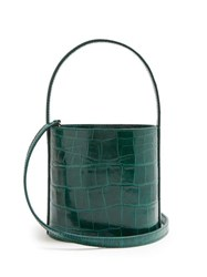 Staud Bissett Crocodile Effect Leather Bucket Bag Green