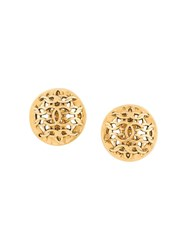 Chanel Vintage Cc Dome Round Earrings Gold